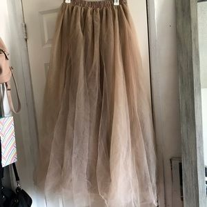 WDDL nude beige tulle maxi skirt